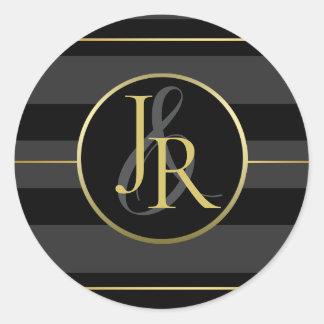 Sticker Rond Monogramme facultatif de smoking d'or noir de