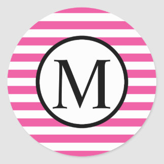 Sticker Rond Monogramme simple avec les rayures horizontales