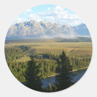 Sticker Rond Montagnes et rivière de Jackson Hole
