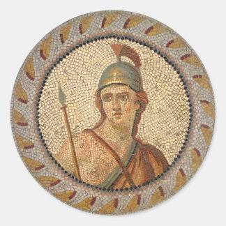 Sticker Rond Mosaïque romaine de soldat