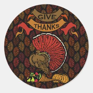 Sticker Rond Motif de feuille d'automne