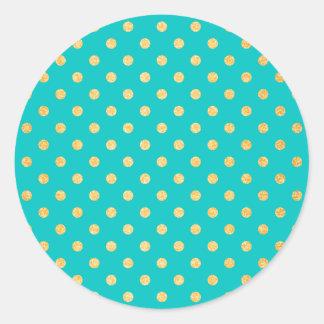 Sticker Rond Motif de pois de scintillement d'or de turquoise