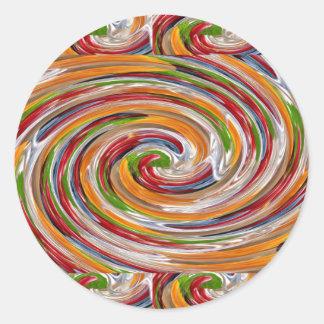 Sticker Rond Motif de vague fruité décoratif de pirouette
