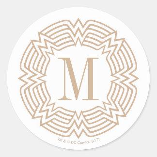 Sticker Rond Motif grec de femme de merveille