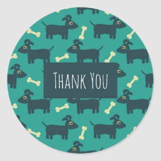 Sticker Rond Motif mignon de chien avec le Merci d'os