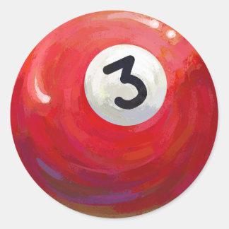 Sticker Rond Motif peint de boule de piscine 3