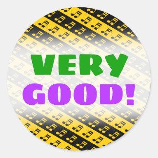 Sticker Rond Motif rayonné noir et jaune de seizième notes