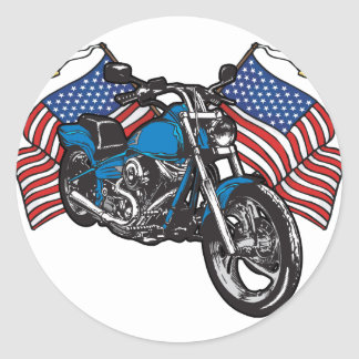 Sticker Rond Moto américaine de motard