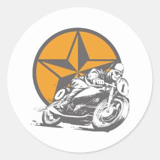 Sticker Rond Moto vintage emballant l'étoile de cercle