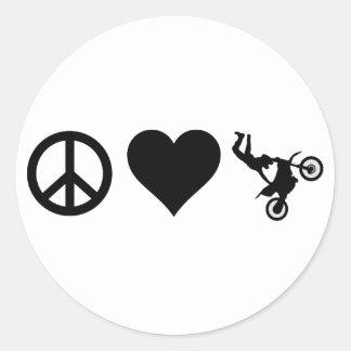 Sticker Rond Motocross d'amour de paix