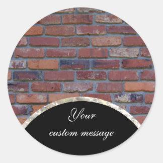 Sticker Rond Mur de briques - briques et mortier mélangés