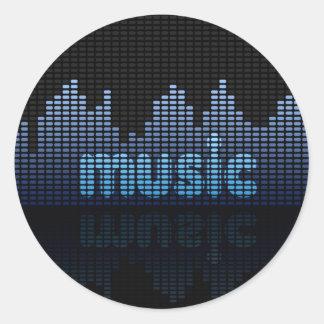 Sticker Rond Mur de vague de musique d'égaliseur de Digitals -