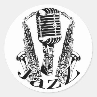 Sticker Rond Musique de microphone de saxo de saxophone de ~ de