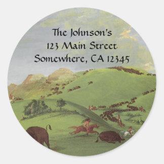 Sticker Rond Natifs américains vintages, chasse de Buffalo par