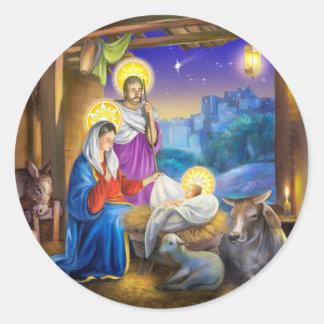 Sticker Rond Nativité de Jésus avec Josef et Mary, vaches,