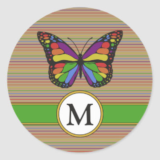 Sticker Rond Nature de monogramme de filets de papillon