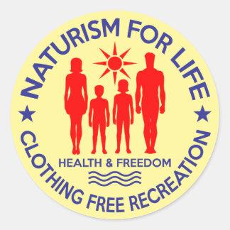 Sticker Rond Naturiste - naturisme pendant la vie