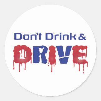 Sticker Rond Ne buvez pas et ne conduisez pas