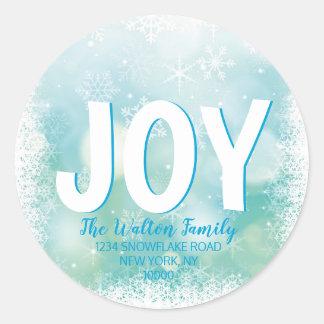 Sticker Rond Neige blanche bleue de vacances de Noël