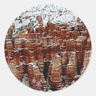 Sticker Rond neige et glace dans le formationsf de roche