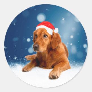 Sticker Rond Neige mignonne de casquette de Père Noël de chien