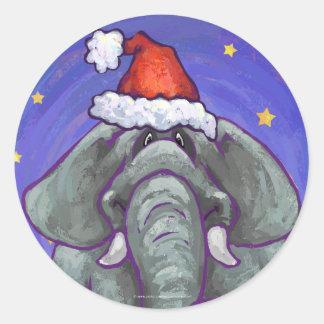 Sticker Rond Noël d'éléphant