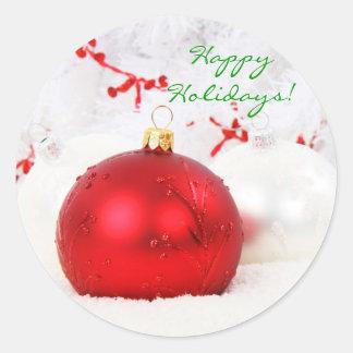 Sticker Rond Noël rouge et blanc bonnes fêtes je