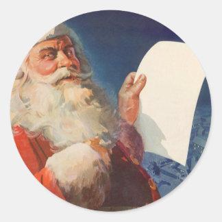 Sticker Rond Noël vintage, liste vilaine du père noël Nice