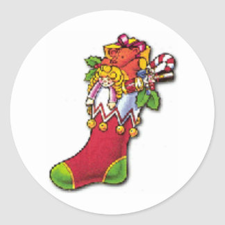 Sticker Rond Noël vintage stockant complètement des jouets