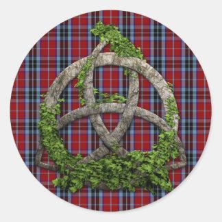 Sticker Rond Noeud de trinité et tartan celtiques de MacTavish