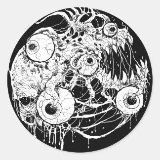 Sticker Rond Noir Inkwork d'horreur de globe oculaire