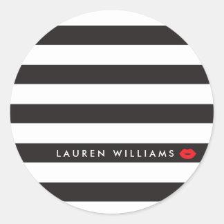 Sticker Rond Noir Luxe/blanc barre le maquilleur rouge de