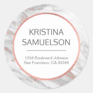 Sticker Rond Nom gris de marbre rose de feuille d'or et adresse