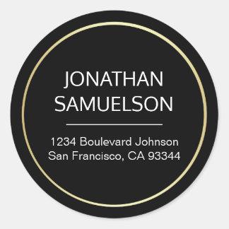 Sticker Rond Nom noir classique de cercle d'or et adresse de