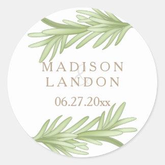 Sticker Rond Noms de fines herbes de mariage de brins de