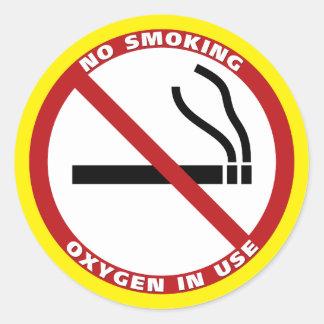 Sticker Rond Non-fumeurs - l'oxygène en service - aucun Fumar