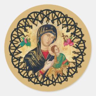 Sticker Rond Notre mère d'aide perpétuelle avec le bébé Jésus