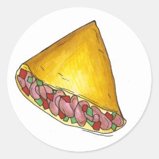 Sticker Rond Nourriture de petit déjeuner d'omelette d'omelette