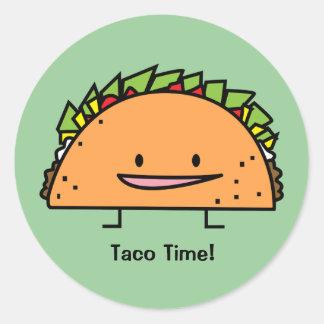 Sticker Rond Nourriture heureuse de Mexicain de Salsa de viande
