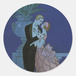 Sticker Rond Nouveaux mariés vintages d'art déco, Oui par