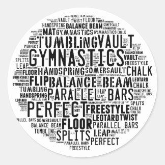 Sticker Rond Nuage de mot de gymnastique dégringolant