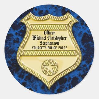 Sticker Rond Obtention du diplôme de police d'insigne/partie de