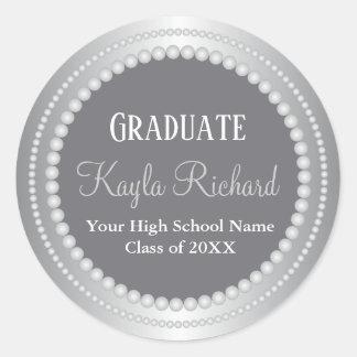Sticker Rond Obtention du diplôme d'école de nom de diplômé de