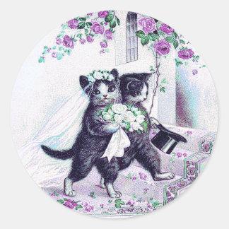 Sticker Rond Occasion spéciale pourpre de chats de mariage