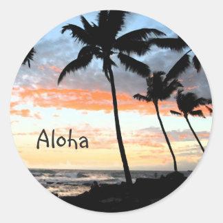 Sticker Rond Océan de palmiers