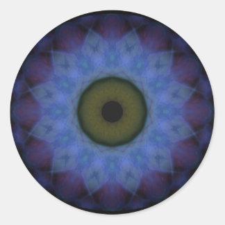 Sticker Rond Oeil mauvais bleu violet d'horreur