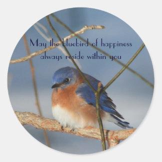 Sticker Rond Oiseau bleu d'autocollant inspiré de bonheur