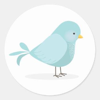 Sticker Rond Oiseau bleu mignon de bonheur