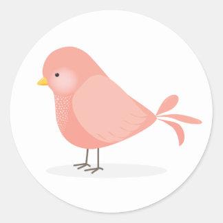 Sticker Rond Oiseau rose mignon