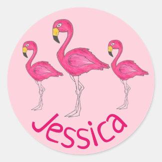 Sticker Rond Oiseau tropical personnalisé d'île de flamant rose